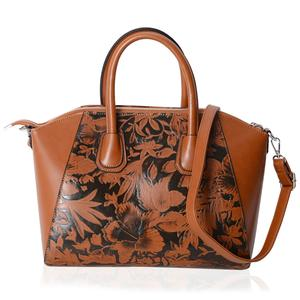 Camel and Black Flower Pattern Faux Leather Tote Bag with Removable Shoulder Strap (13x7.5x9 in)