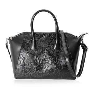 Black Flower Pattern Faux Leather Tote Bag with Removable Shoulder Strap (13x7.5x9 in)