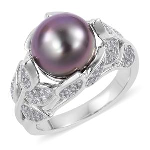 Tahitian Pearl (10-10.5 mm), White Zircon Sterling Silver Leaf Ring (Size 7.0) TGW 0.66 cts.