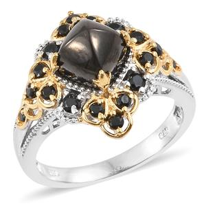 Shungite, Thai Black Spinel 14K YG and Platinum Over Sterling Silver Ring (Size 7.0) TGW 3.60 cts.