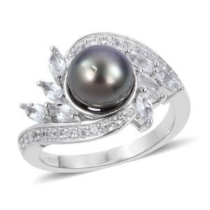 Tahitian Pearl (8-9 mm), White Topaz Sterling Silver Fancy Bypass Ring (Size 7.0) TGW 1.03 cts.