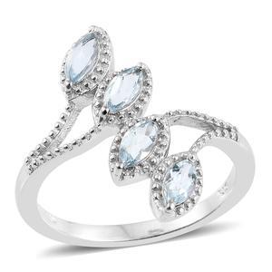 Espirito Santo Aquamarine Platinum Over Sterling Silver Ring (Size 7) TGW 0.840 Cts. TGW 0.84 Cts.