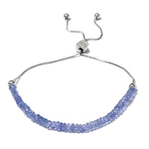 Tanzanite, Cambodian Zircon Sterling Silver Bolo Bracelet (7.50 In) (Adjustable) TGW 9.65 cts.