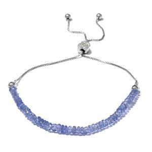 Tanzanite, Cambodian Zircon Sterling Silver Bolo Bracelet (7.50 In) (Adjustable) TGW 9.65 cts.