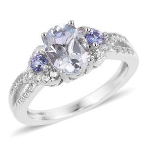 Espirito Santo Aquamarine, Multi Gemstone Sterling Silver Ring (Size 7.0) TGW 1.50 cts.