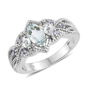 Espirito Santo Aquamarine, Tanzanite Platinum Over Sterling Silver Ring (Size 7.0) TGW 1.51 cts.
