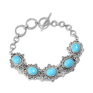 Artisan Crafted Arizona Sleeping Beauty Turquoise, Catalina Iolite Sterling Silver Toggle Clasp Bracelet (7.50-8.50In) TGW 11.28 cts.