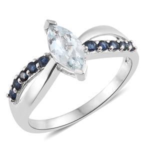 Espirito Santo Aquamarine, Kanchanaburi Blue Sapphire Platinum Over Sterling Silver Ring (Size 8.0) TGW 1.25 cts.