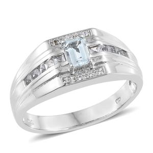 Espirito Santo Aquamarine, White Topaz Platinum Over Sterling Silver Men's Ring (Size 12.0) TGW 1.25 cts.