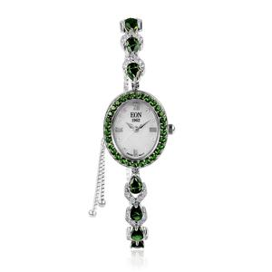 EON 1962 Russian Diopside, White Zircon Swiss Movement Watch (Adjustable) with Sterling Silver Strap and Stainless Steel Back TGW 5.72 cts.