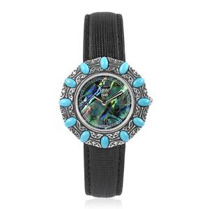 EON 1962 Abalone Shell, Arizona Sleeping Beauty Turquoise Swiss Movement Water Resistant Watch with Black Faux Leather Band and Stainless Steel Back TGW 7.00 cts.