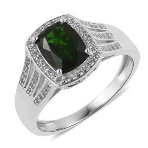 Russian Diopside, White Zircon Sterling Silver Split Ring (Size 8.0) TGW 2.40 cts.