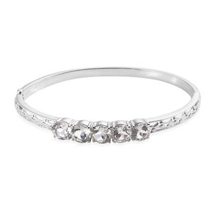 White Topaz Stainless Steel Bangle (8 in) TGW 12.00 cts.