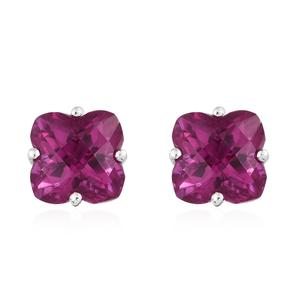 Radiant Orchid Triplet Quartz Platinum Over Sterling Silver Earrings TGW 10.80 cts.