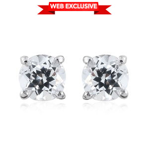 White Topaz Platinum Over Sterling Silver Earrings TGW 1.250 Cts. TGW 1.25 Cts.