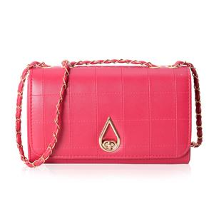 Fuchsia Quilted Crossbody Bag (10.1x3.3x6.1 in) with Turn-Lock Closure