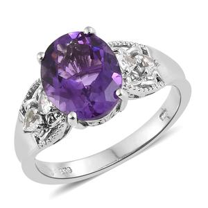 Moroccan Amethyst, White Topaz Platinum Over Sterling Silver Ring (Size 8.0) TGW 5.25 cts.