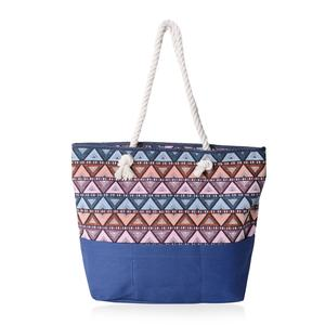 Blue with Multi Color Triangle Pattern 100% Polyester Jacquard Tote Bag (19.2x14.6x15.4 in)