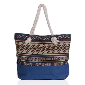 Blue with Multi Color Geometric Pattern 100% Polyester Jacquard Tote Bag (19.2x14.6x15.4 in)