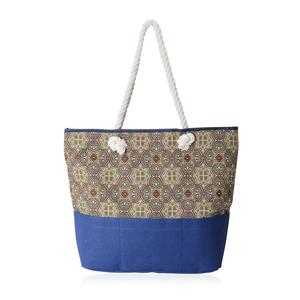 Blue with Green and Red Flower Pattern 100% Polyester Jacquard Tote Bag (19.2x14.6x15.4 in)