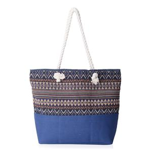 Blue with Multi Color Triangle and Stripe Pattern 100% Polyester Jacquard Tote Bag (19.2x14.6x15.4 in)