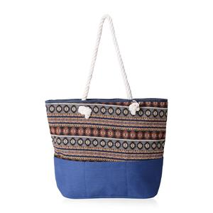 Blue with Multi Color 100% Polyester Jacquard Tote Bag (19.2x14.6x15.4 in)