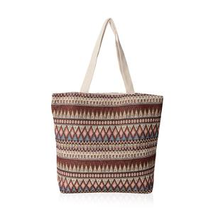 Red and Beige Rhombus Pattern Jacquard Tote Bag (16.4x12.5x15 in)