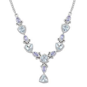 Espirito Santo Aquamarine, Tanzanite Platinum Over Sterling Silver Drop Necklace (18 in) TGW 2.77 cts.