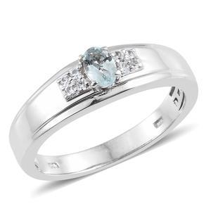 Espirito Santo Aquamarine, Cambodian Zircon Platinum Over Sterling Silver Men's Ring (Size 12.0) TGW 0.60 cts.