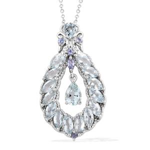 Espirito Santo Aquamarine, Tanzanite Platinum Over Sterling Silver Pendant With Chain (20 in) TGW 4.04 cts.