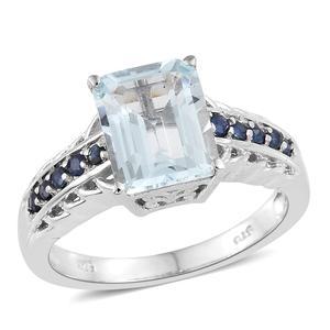 Espirito Santo Aquamarine, Kanchanaburi Blue Sapphire Platinum Over Sterling Silver Ring (Size 7.0) TGW 3.60 cts.