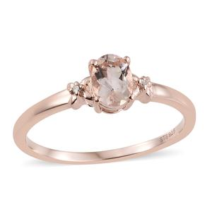 Marropino Morganite, Diamond Accent Vermeil RG Over Sterling Silver Ring (Size 5.0) TGW 0.72 cts.