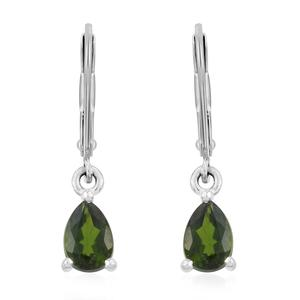 Russian Diopside Sterling Silver Earrings with Stainless Steel Lever Back TGW 0.90 cts.