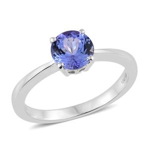 Tanzanite Platinum Over Sterling Silver Round Cut Solitaire Ring (Size 8.0) TGW 2.10 cts.
