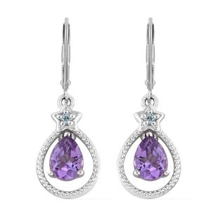 Moroccan Amethyst, Blue Topaz Platinum Over Sterling Silver Lever Back Earrings TGW 2.10 cts.