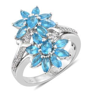 Malgache Neon Apatite, Cambodian Zircon Platinum Over Sterling Silver Floral Ring (Size 7.0) TGW 2.80 cts.