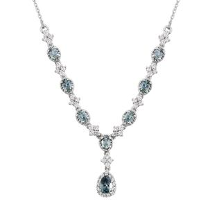 Montana Sapphire, Cambodian Zircon Platinum Over Sterling Silver Necklace (18 in) TGW 2.68 cts.