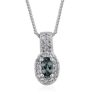Montana Sapphire, Cambodian Zircon Platinum Over Sterling Silver Pendant With Chain (20 in) TGW 0.56 cts.