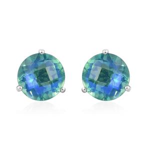 Peacock Quartz Platinum Over Sterling Silver Earrings TGW 4.48 cts.