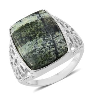 KARIS Collection - Chrysotile Platinum Bond Brass Ring (Size 7.0) TGW 11.44 cts.