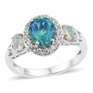 Peacock Quartz, Multi Gemstone Platinum Over Sterling Silver Ring (Size 6.0) TGW 2.94 cts.