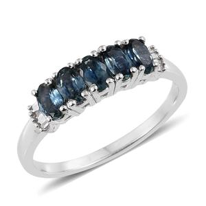 Montana Sapphire, Diamond Platinum Over Sterling Silver Ring (Size 10.0) TDiaWt 0.05 cts, TGW 1.50 cts.