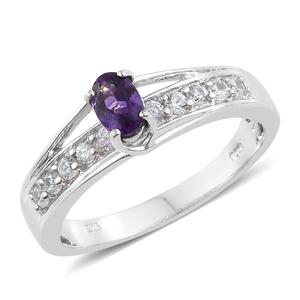 Moroccan Amethyst, Cambodian Zircon Platinum Over Sterling Silver Bridge Ring (Size 7.0) TGW 1.00 cts.