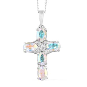 Mercury Mystic Topaz, Cambodian Zircon Platinum Over Sterling Silver Cross Pendant With Chain (20 in) TGW 2.90 cts.
