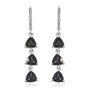 Northern Lights Mystic Topaz Platinum Over Sterling Silver Lever Back Trilogy Drop Earrings TGW 5.05 cts.