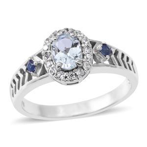 Espirito Santo Aquamarine, Multi Gemstone Sterling Silver Ring (Size 7.0) TGW 1.32 cts.
