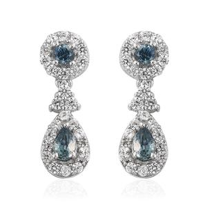 Montana Sapphire, Cambodian Zircon Platinum Over Sterling Silver Drop Earrings TGW 2.00 cts.