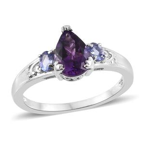 Moroccan Amethyst, Tanzanite Platinum Over Sterling Silver Ring (Size 5.0) TGW 2.18 cts.