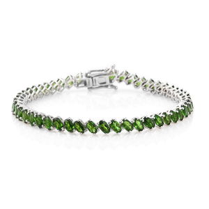 Russian Diopside Platinum Over Sterling Silver Tennis Bracelet (7.50 In) TGW 12.35 cts.