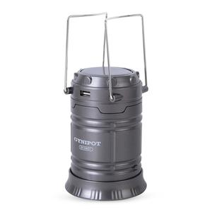 Black Super Bright Collapsible Solar Rechargeable LED Camping Lamp with Flashlight (Detachable Plug Charger)
